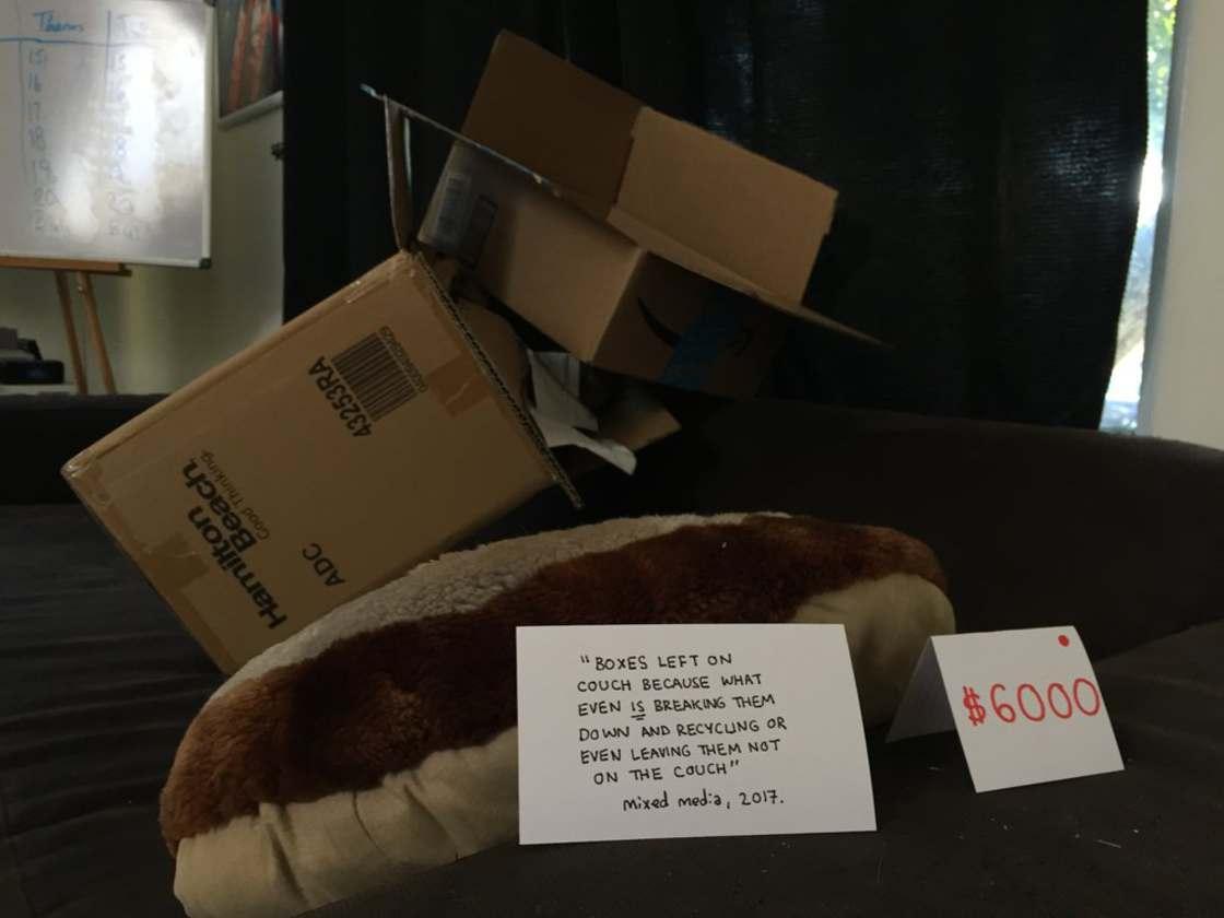 obrazek przedstawia rzucone na kanapę kartonowe pudełka